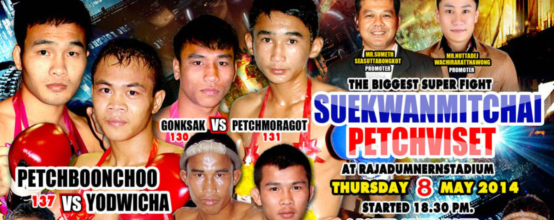 Petchboonchu draw vs Yodwicha! Rajadamnern Superfight Live Results 8th May 2014