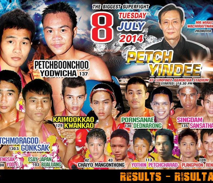 Results: Lumpinee Superfights 8th July 2014 – Ponsanae Sitmonchai lose by KO – Video