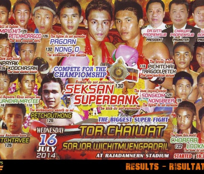 Live Results: Rajadamnern Superfights 16th July 2014