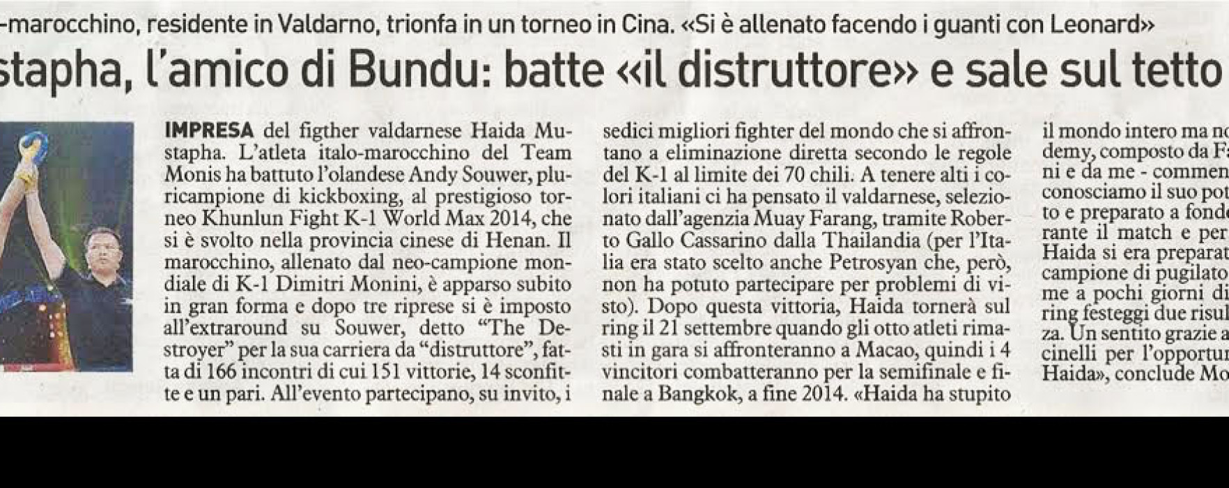 "Flash News: Mustapha Haida & Muay Farang on the Italian Newspaper ""La Nazione"""
