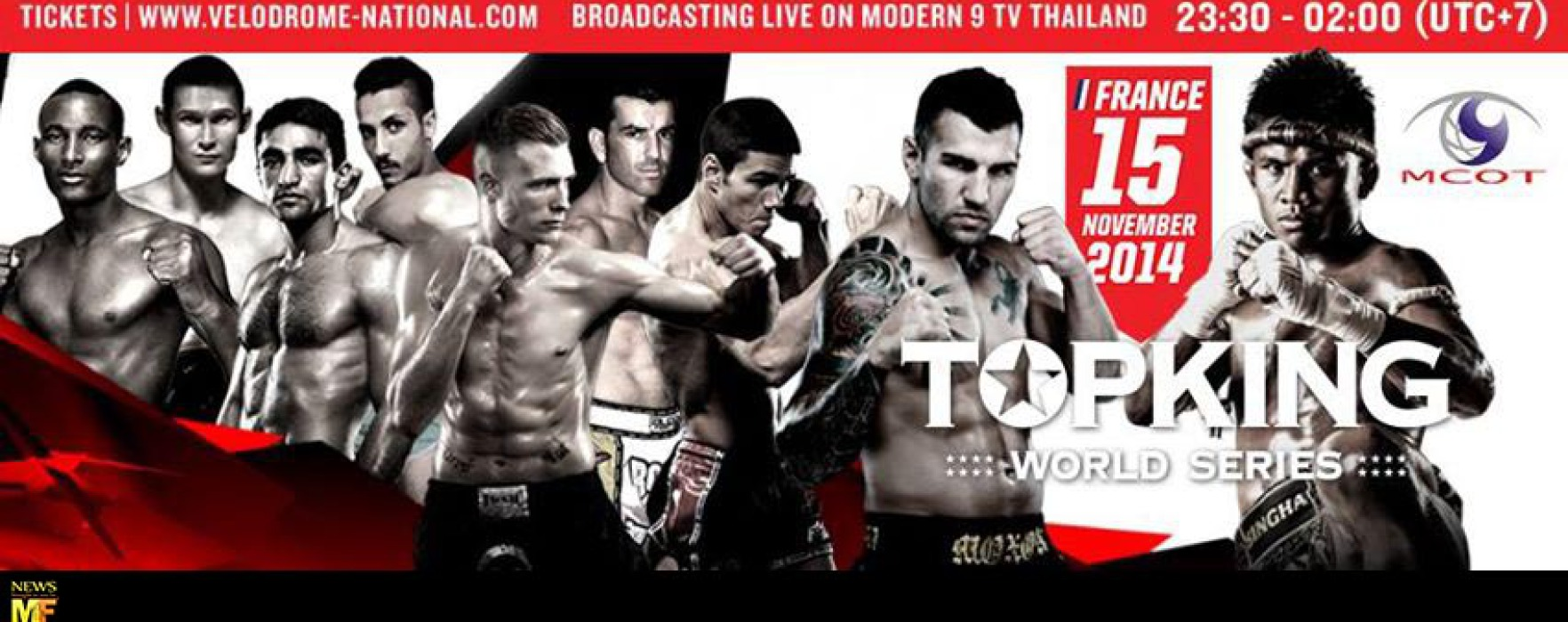 Watch TopKing World Series – Paris in live streaming today 15/11/14 featuring Buakaw, Thongchai, Pakorn ect