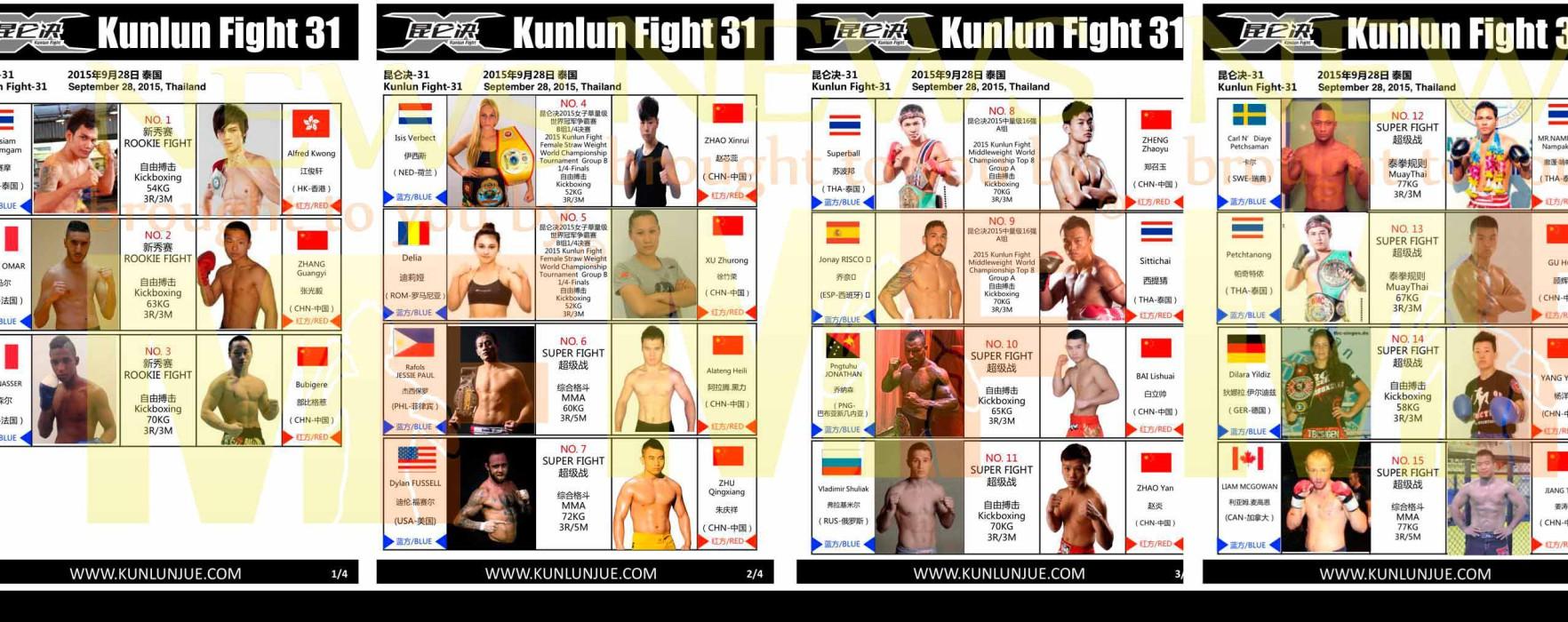 Card: Sitthichai, Superball, Petchanong ecc al Kunlun Fight 31 – Bangkok – 28 Settembre 2015