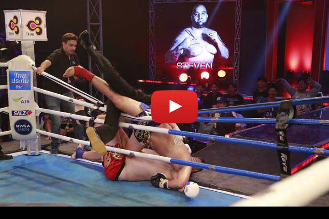 Video: Steven Bank flies out the ring and the TV audience goes crazy – Super Muay Thai