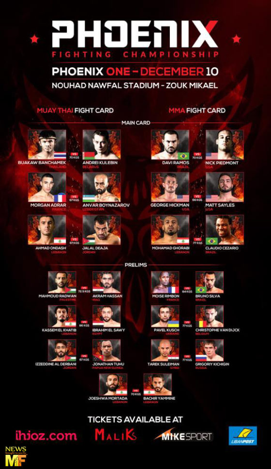 Phoenix Fighting Championship fight Card 10 December 2016